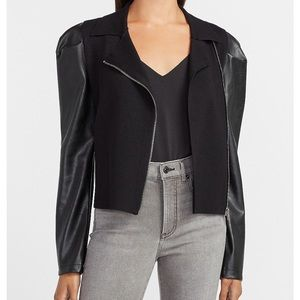 Express Leather Puff Sleeve Jacket